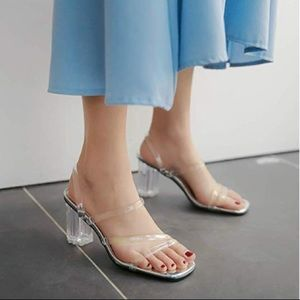 Shoes - Acrylic Clear Square-Toe Mules